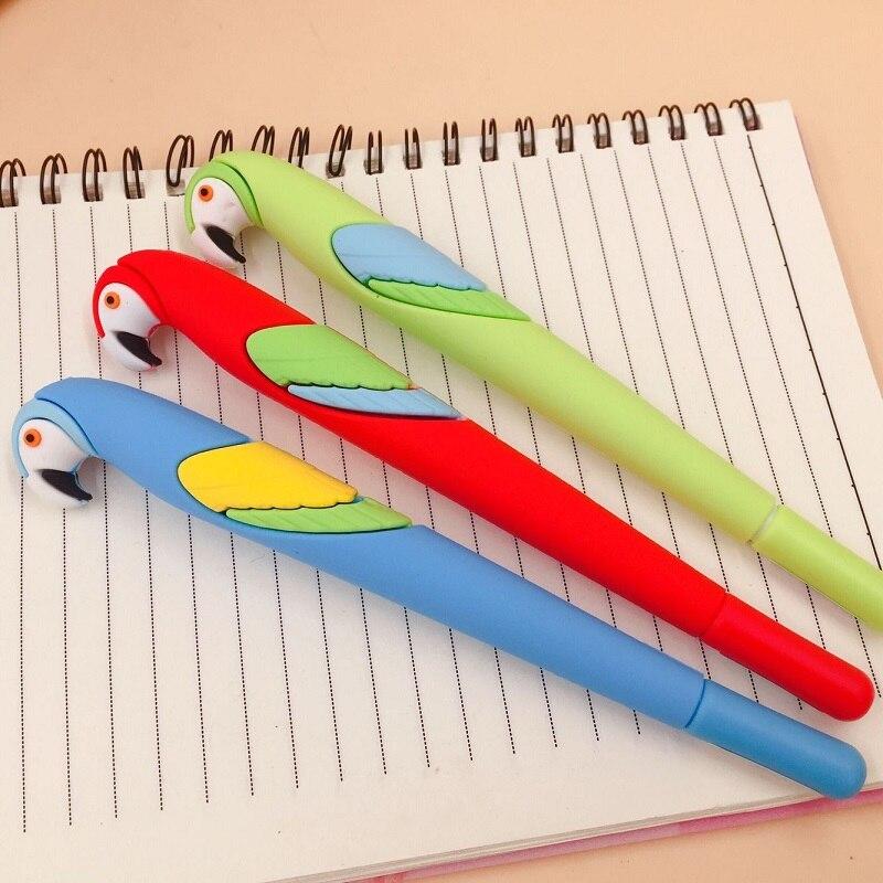 Korea Speelse Pennen Papegaai Dier Volledige Siliconen Gel Pen Koreaanse Creatieve Cartoon Briefpapier 48 stks/partij - 2