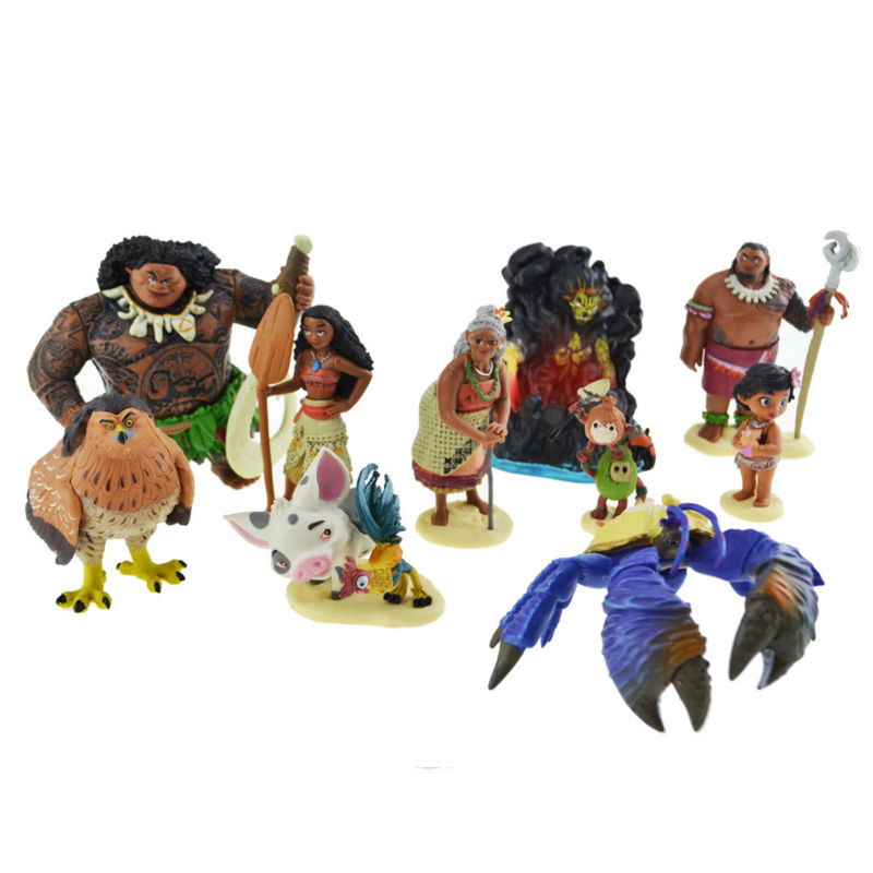 цены Free Shipping 10pcs/set Cartoon Moana Princess Legend Vaiana Maui Chief Tui Tala Heihei Pua Action Figure Decor Toys For Kids