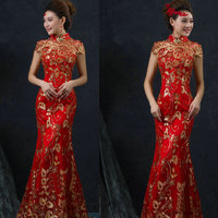 Vintage Red Chinese Wedding Dress Female Long Short Sleeve Cheongsam Women Qipao For Wedding Party Gold