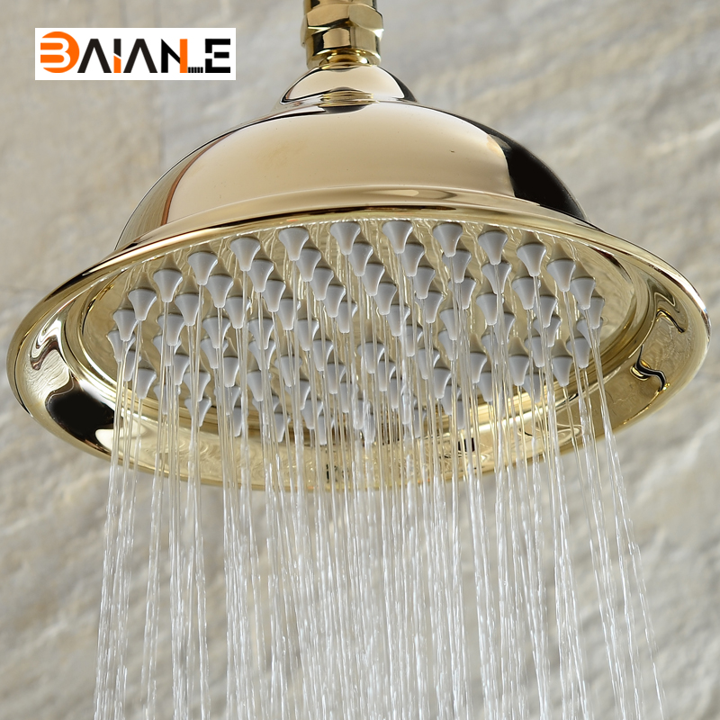 Gold Round Shower Head Stainless steel Water Rains Shower Head With Shower Extension Arm Bathroom Set Wall Mounted Shower Head abs chrome water rains shower head large square shower head with wall mount extension shower arm for bathroom shower set