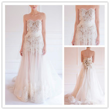 MANSA 2015 Ivory Modern Wedding Dress Sexy See Through Sweetheart Backless Lace wedding gown With Court Train Vestidos De Noiva