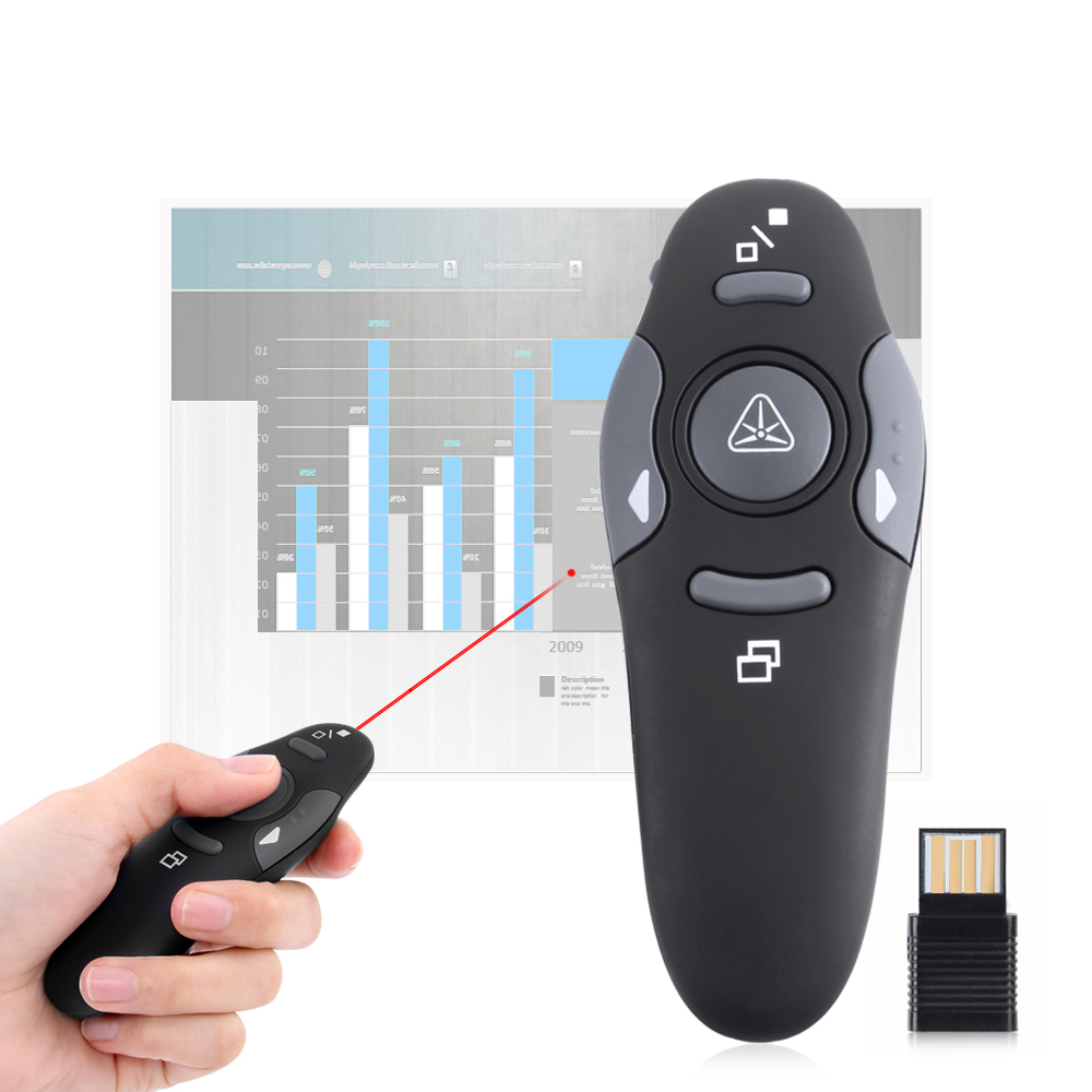 Hot Wireless Presenter Laser Pointers 2.4G RF Wireless PPT Presentation Remote Control Red Light USB Flip Laser Pointer Pen lc 3000 2 4hz usb wireless presenter w red laser pointer silver black 2 x aaa page 1