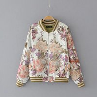 Early Autumn Europe And The United States Fan Fashion Positioning Flower Printing Color Jacket Women W928