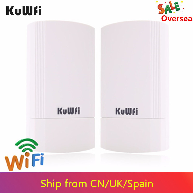 KuWFi 2Pcs Long Range Wireless Bridge 5G 450Mbps 802.11ac Pre-configured CPE Kit Indoor&Outdoor Point To Point Wireless CPE WDS(China)