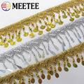 Meetee 2meters Gold Silver Tassel Webbing Hanging Sequins Lace Trim Performance Dance Costume DIY Decor Craft Accessories TF202
