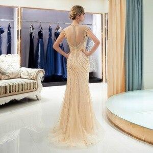 Image 2 - Złote suknie wieczorowe spacer obok ciebie syrenka wyszywana kryształkami bez rękawów Sukienka Wieczorowa Vestidos Formales królewska suknia Wieczorowa