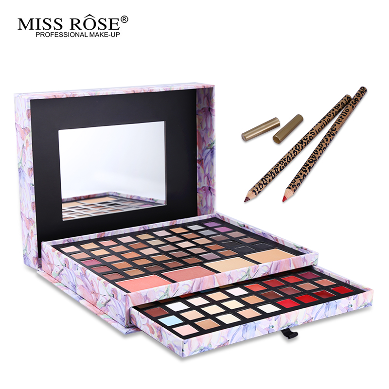 Professional Flower Makeup Cosmetic Set Gift For Women Eyeshadow Lipstick Concealer Blush Mirror Kits Make Up Brand MISS ROSE 1