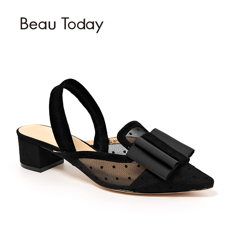 BeauToday Women Sandals Kid Suede Butterfly-Knot Decoration Polka Dot Lady Summer Genuine Leather Shoes Handmade 31027 knot front polka dot top with pants
