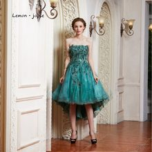 Lemon joyce Green Prom Dresses 2019 New Style Elegant Strapless Feathers  High Low Evening Dress Party Gown Plus Size 659bef7170d4