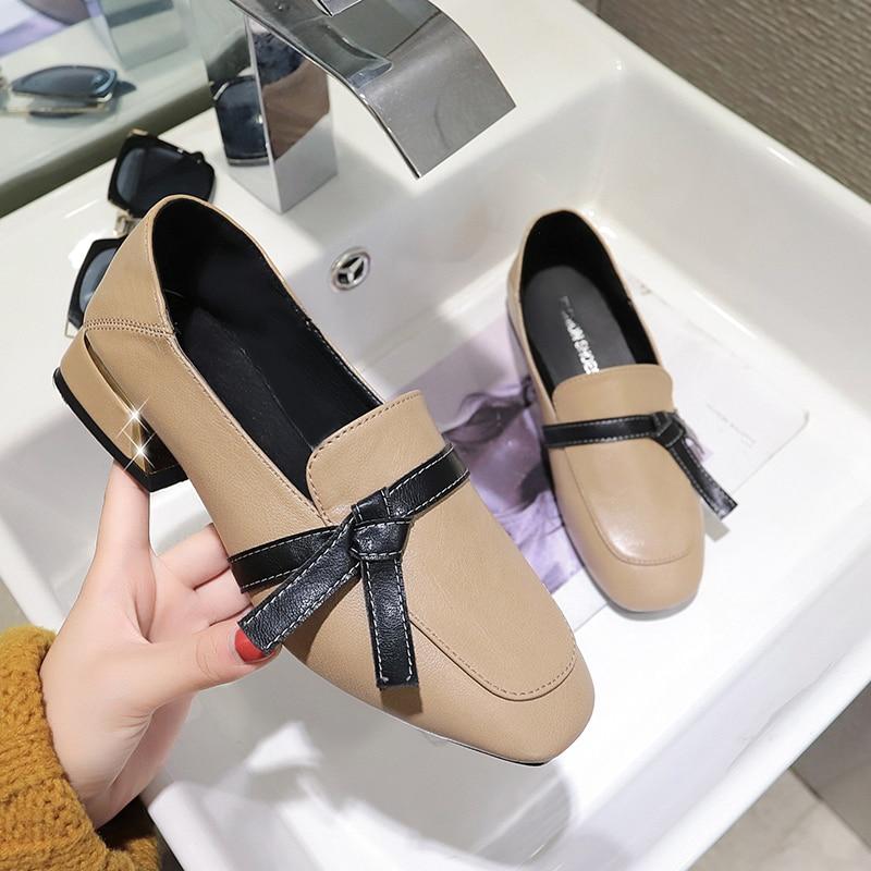 Profonde Femme Casual Nouveau Noir noeud Carré bas Peu Talon Mocassins Appartements Mode Plates 2019 Papillon Printemps Chaussures Coupe Femmes marron Doux xp6qS4wn