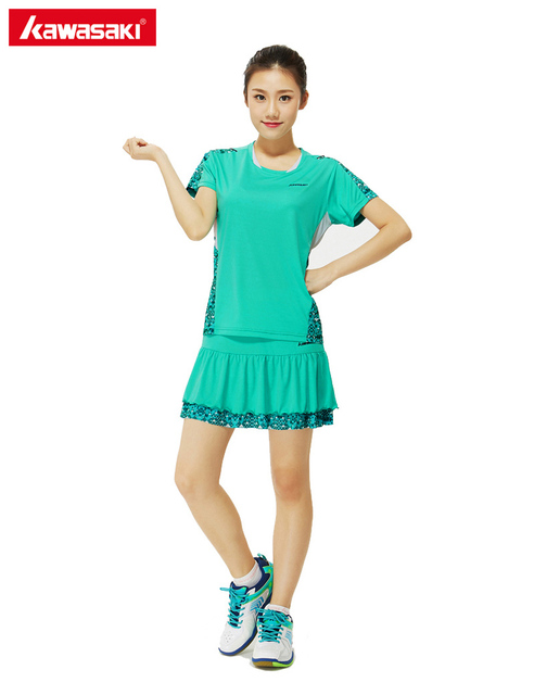0864193bda Mulheres de Roupas Conjunto Esportes Tênis Badminton KAWASAKI Terno 100% Poliéster  Quick Dry Respirável T