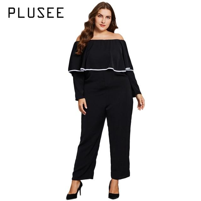 0ce851292e7 Plusee Women Plus Size Fashion Bodysuit Off Shoulder Ruffles Long Sleeve  Jumpsuit Black Big Size body feminino XL-5XL