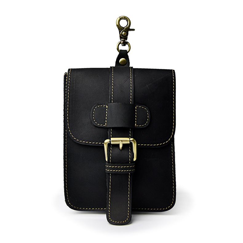 First Layer Of Crazy Horse Genuine Leather Men Tide Cool Cell Phone Camera 7 Inches Shoulder Waist Bags 016