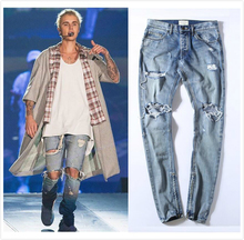 Justin Bieber Vintage Indigo Denim Jeans Quality Zipped Ankle Distressed Biker Jeans Free Shipping