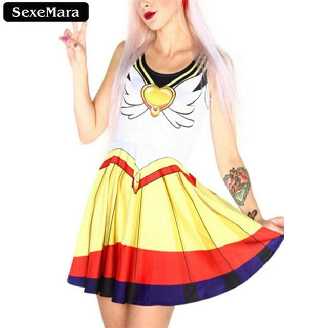 SexeMara Hot Sale Sailor Moon Dress Kawaii Sleeveless Elastic Vestidos Fitness Skinny Youth Printed Charming Women Dresses F470