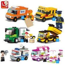 KAYGOO Строительные Блоки Город Дом Закуски Автомобиля TV Express Полиция Грузовик школьный автобус Кирпич девушки Игрушки Совместимость Legoe