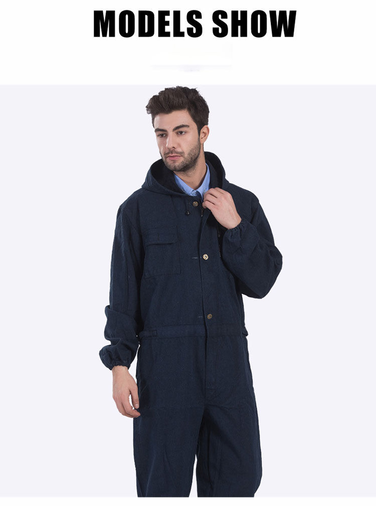 Men Work Clothing Long Sleeve Large Size Denim Overalls High Quality Hooded Dust-proof Welding Auto Repair Protective Coveralls (7)