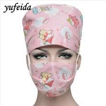 Yufeida Wanita Lelaki Scrub Cap Jururawat Doktor Hospital Unisex Pembedahan Boleh Laras Perubatan Caps Scrub Makmal Klinik Caps