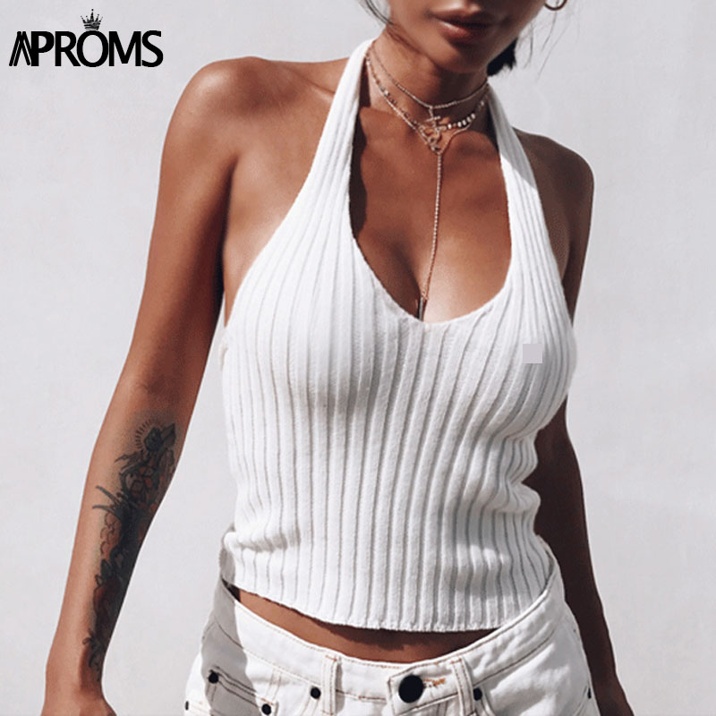 Aproms White Halter Knitted Low Back Tank Top Summer Deep V Neck Streetwear Fashion 2019 90s Cool Basic Tops for Women Clothing