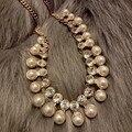 Famosa marca de moda retro grande declaração de ouro colar de pingente de cristal mulheres camisola cadeia de cadeia curta clavícula mulheres de jóias
