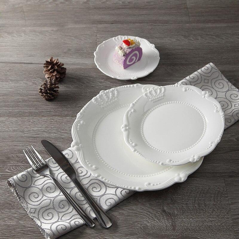 Service d'assiettes en céramique porcelaine | Soulagement de la couronne royale de 6 ''8'' 10 ''assiette principale, plateau de service, vaisselle pour Restaurant, Home café - 2