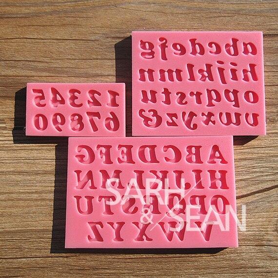 M0209 pequeño Inglés letters & numbers fondant cake moldes de jabón del molde de