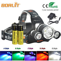 BORUIT 4 Mode T6 LED 8000LM Headlight Frontale Torch Headlamp Lantern For Fishing Hunting Head Lamp