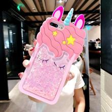 324497c2888 Zxtrby dibujos animados caja linda del teléfono del caballo para el iPhone  X 8 7 6 6 s más 4 4S 5 5S 3D rosa unicornio de la are.