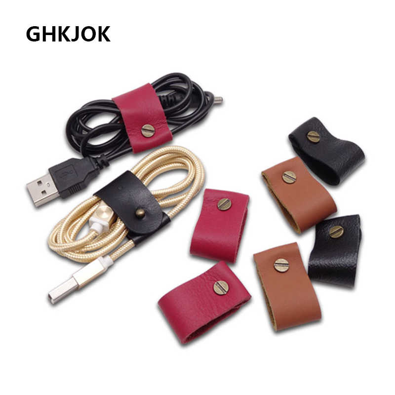 3pcs Leather Cable Organizer Earphone holder computer cable winder mouse phone cable protector android USB Cable Winder Clip