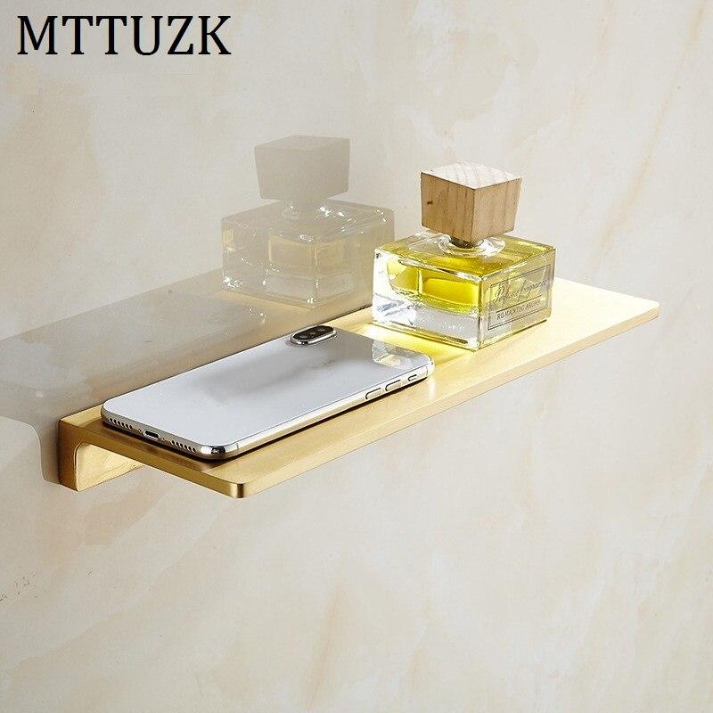MTTUZK Solid Brass Brushed Gold Bathroom Shelves Bathroom Dressing table Shelf Shower Caddy Rack Bathroom Accessories