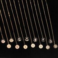 A Z 26 Letters Initial Necklace Gold Color Disc Alfabet Necklace Alphabet Women Kolye Collier 925 silver letter monaco jewelry