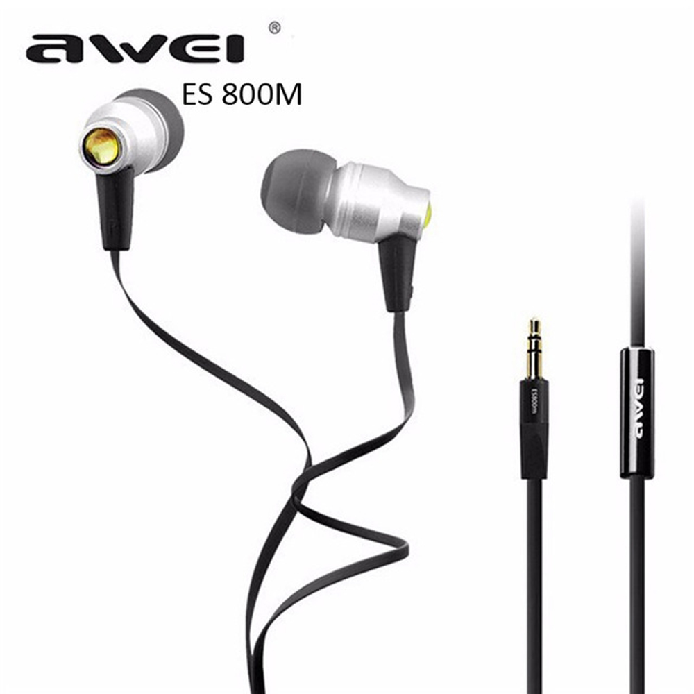 Awei ES800M Sport Stereo Headphone Headset In-ear Earphone For Your In Ear Phone Buds iPhone Samsung Earbuds Earpiece Sluchatka awei wired stereo headphone with mic microphone in ear earphone for your in ear phone buds iphone samsung player headset earbuds