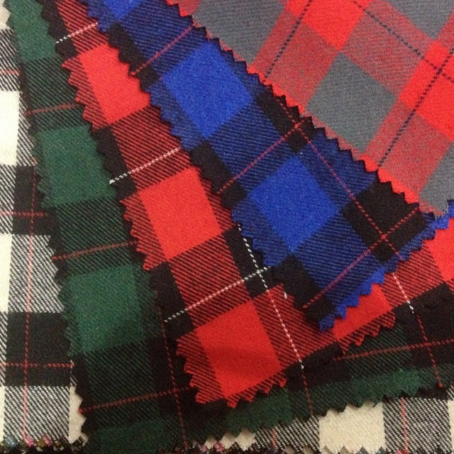 Peached Cotton Yarn Dyed Plaid Fabric 21s Red Black Checkered Shirt