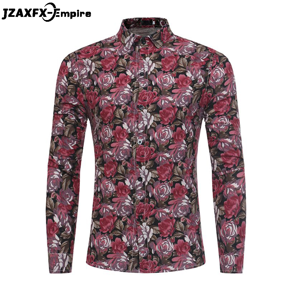 2018 New Print Floral Design Shirts Men Casual Long Sleeve Shirt camisa masculina High Quality Male Fashion Rose Shirts ...