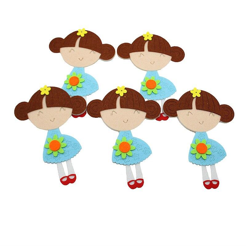 1pc Cute Cartoon Girl Flower Felt Cutting Decoration Non-Woven Cloth Felts Kindergarten Kid Room Diy Decoration Stickers Felting