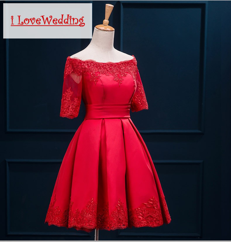 iLoveWedding Bourgondische korte prom dresses Halflange mouw Satijnen - Jurken voor bijzondere gelegenheden - Foto 4