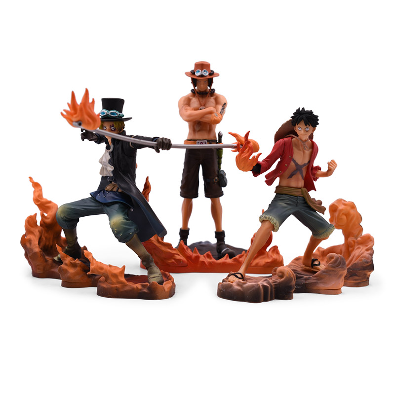 3 PCS/Set Anime One Piece DXF BROTHERHOOD Luffy Sabo Ace PVC Action Figure Collectible Model Christmas Gift Toy For Children