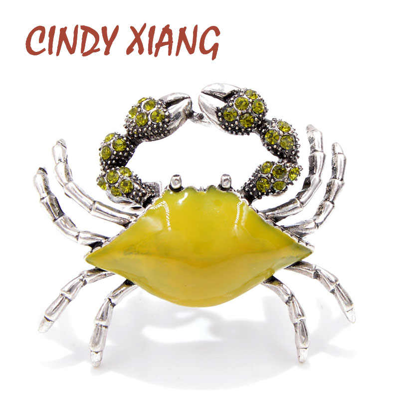CINDY XIANG 3 Colors Available Enamel Swimming Crab Brooches for Women Sea Animal Pins Winter Coat Sweater Corsage Fashion Gift