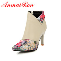 ANMAIRON Fashion Warm Women's Shoes Print Flower Zip High Thin Heels Women Boots Dating Getting Toghter Betifil Ladies Shoes