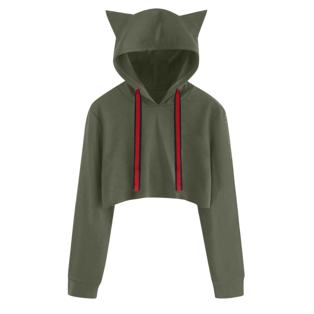 D-Sun Girls Cute Cat Hooded Hoodie Sweatshirt with Pocket