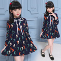 Children's clothing Girl Dress spring 2017 children's national wind bird dress girls long sleeved dress