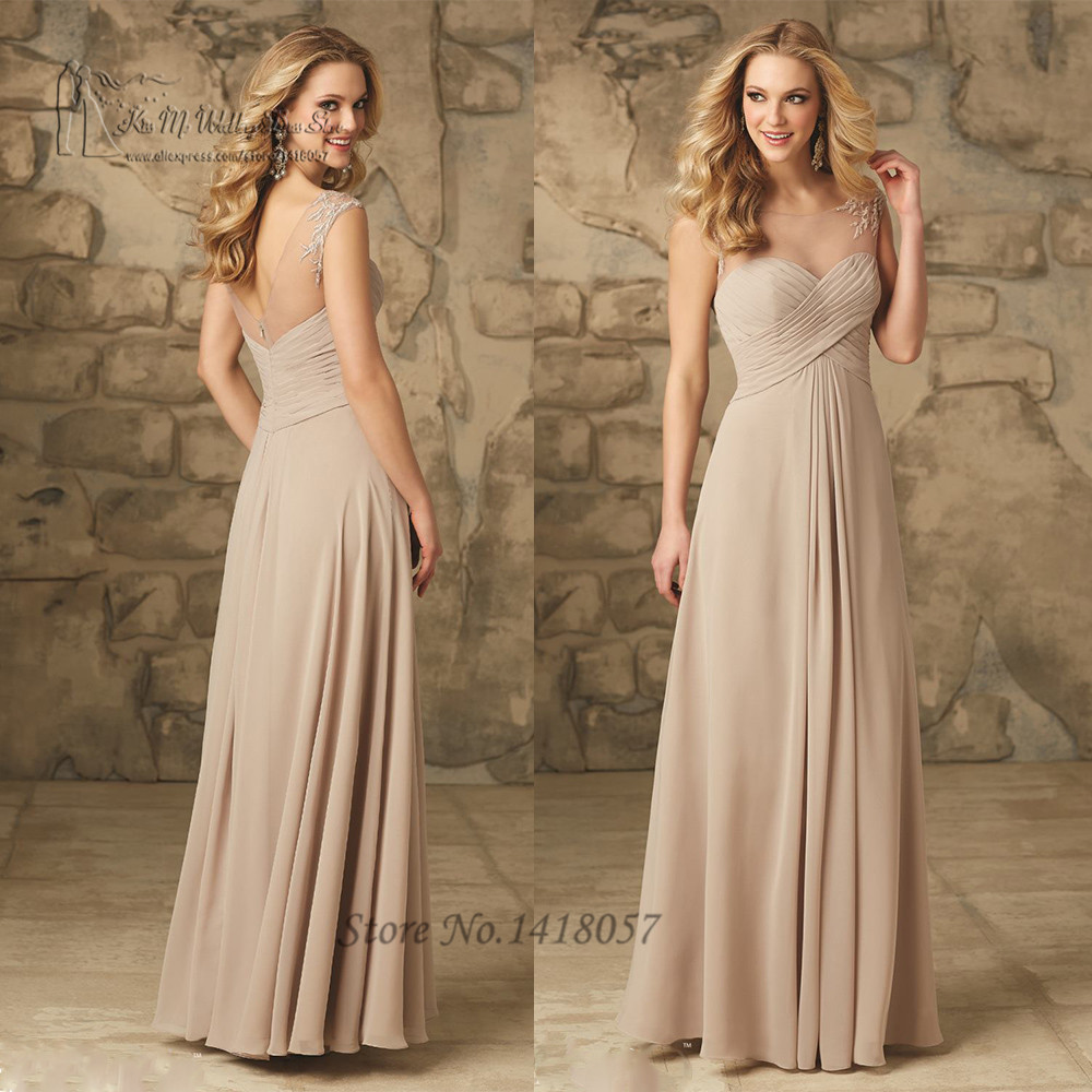 Online get cheap champagne bridesmaids long dress aliexpress free shipping champagne bridesmaid dresses long wedding party dress floor length chiffon lace v back vestidos ombrellifo Gallery