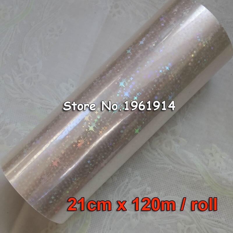 Holographic Star foil transparent foil hot stamping for paper or plastic 21cm x120m Shattered Star Gilding