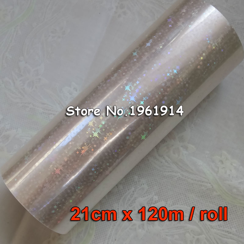 Color: transparent glassed Tool Parts New Style Holographic Foil Plain Transparent Foil Hot Stamping On Paper or Plastic 8cm x 120m//Lot DIY Package Box