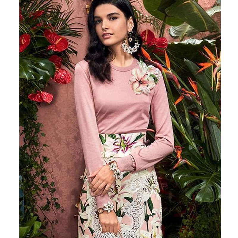 Cosmicchic 2019 Autumn Women Runway Wool Knitted Floral Beaded Sequins Sweater Long Sleeve Round Neck Lily Flowers Pullover