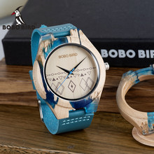 BOBO BIRD Fashion Simple Men Wacth Wood Quartz Timepiece Resin and Wooden Case relogio masculino In Gift Box S07(China)