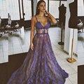 2017 Lavanda Sexy Lace Prom Vestidos Longos Maxi Vestidos Sheer See-Through Saudita do Regresso A Casa do baile de Finalistas do Vestido Vestido de Formatura Vestidos