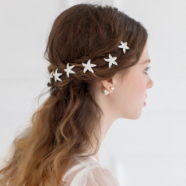 Mini Sliver Sparking de Estrelas Do Mar Em Forma de U Acessórios Do Casamento Desgaste Da Cabeça Chapéus De Noiva Alfinetes de Cabelo De Casamento Da Forma Barata Chapéus Em Estoque