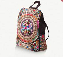 New fashion embroidery backpacks women Handmade canvas backpack ethnic style handmade bag Flower Travel Bag C03