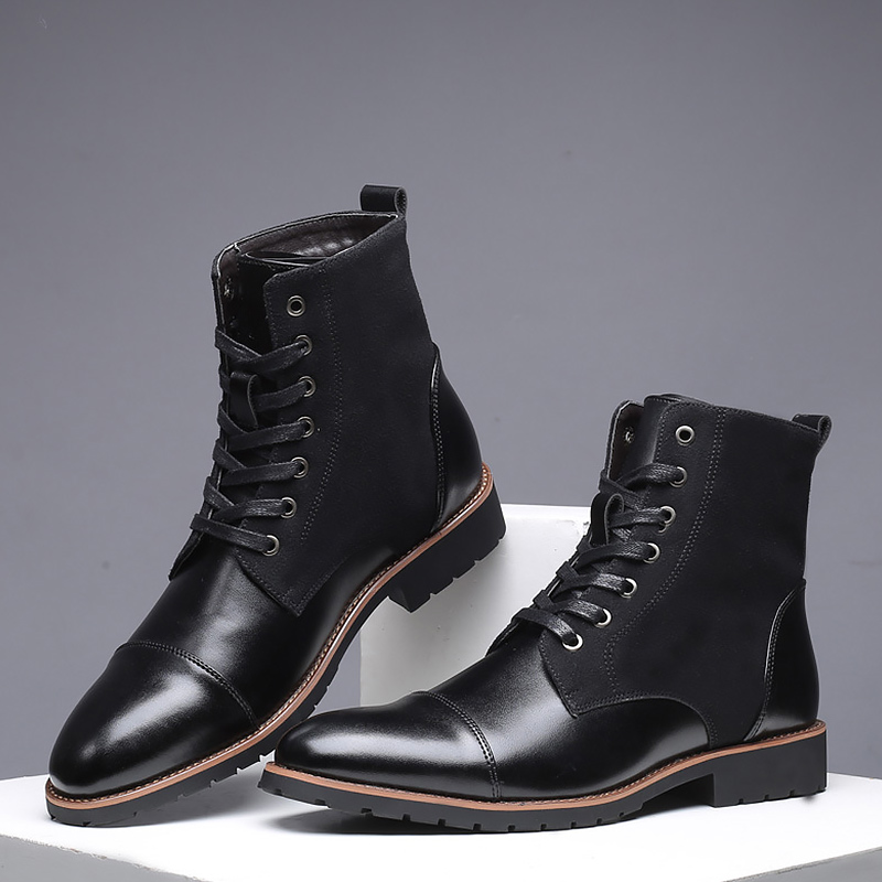 Large Size 45-48 Fashion Ankle Boots Men Wedges Non Slip High Top Boots For Gentleman Lace Up PU Pointe Shoes Man